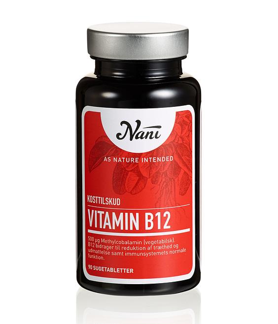 Nani B12 vitamin kosttilskud på glas