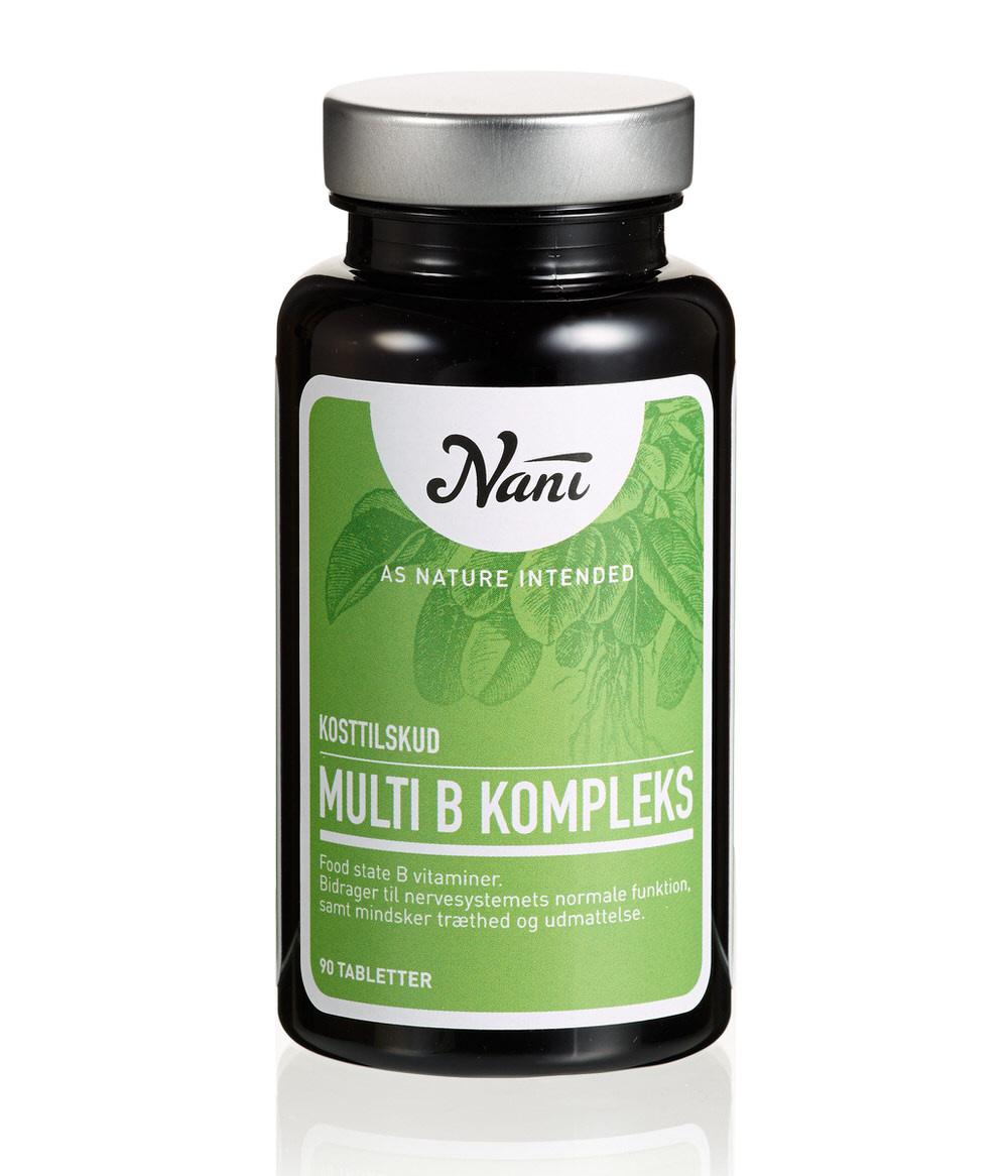Multi B vitamin kompleks fra Nani . Kosttilskud på glas